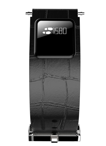Banda de relógio de couro genuíno com pulseira inteligente BT à prova de água com tela sensível ao toque