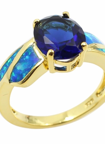 Fashion CZ Diamond Simulated Opal 925 Sterling Silver Gold Plated Ring