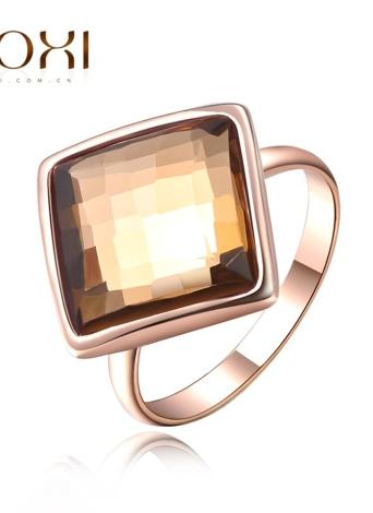 ROXI caliente moda rosa chapado en oro cristal anillo cuadrado austríaco mujeres novia boda compromiso accesorio de la joyería