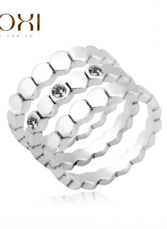 ROXI 3Pcs Fashion Silver Plated Austrian Crystal Stackable Band Ring