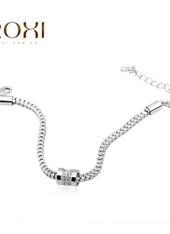 РОКСИ женщин девушка моды белого золота гальваническим CZ алмаз бисера браслет браслет панк стиль ювелирных аксессуаров