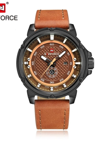 NAVIFORCE 2016 à prova de água Marca de moda 30M Quartz Man Sports Watch PU Strap Men Casual Relógio de pulso Week & Calendar + Watch Box
