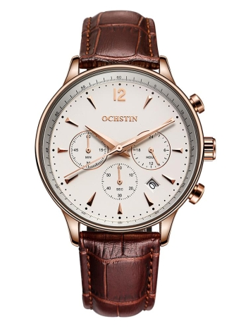 OCHSTIN New Luxury Brand cuir véritable homme d'affaires montre Quartz Preuve analogique Mans Wristwatch Chronographe Calendrier + Box