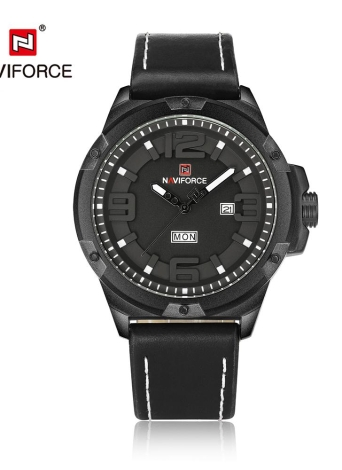 NAVIFORCE Moda 3D Dial Homens Quartz Wathes PU Leather Sports Watch