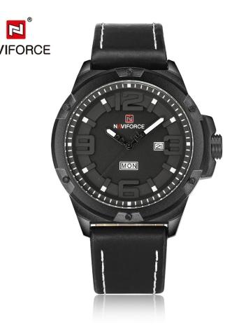 Reloj de los deportes de cuero de la PU de Wathes del cuarzo de los hombres del dial de la manera 3D de NAVIFORCE