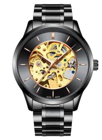 IK COLORING Relógio mecânico automático de luxo do esqueleto de homens