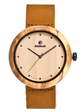 REDEAR 2017 Luxury Olive Wood Quartz Genuine Leather Women Casual Wristwatch