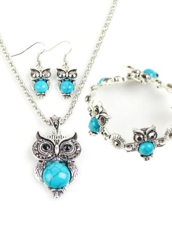 Fashion Retro Bohemian Style Owl Elephant Three-pieces Bracelet Earrings Necklace Jewelry Set