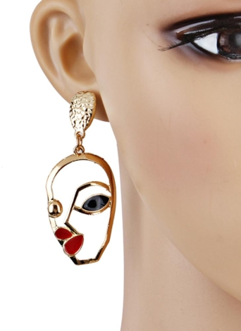 Moda Engraçado Rosto Humano Brincos de palma Elegante Oco Metal Punk Dangle Earrings