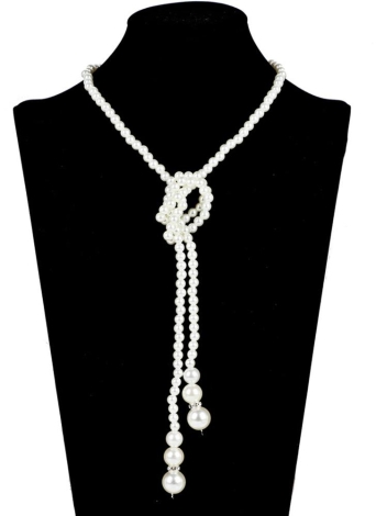 Moda Long Pearl Necklace Simples Temperamento Big Pearl Single Double Sweater Chain
