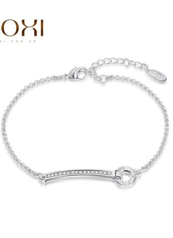 ROXI mode autrichienne Crystal Link Chain Bracelet Gourmette or blanc plaqué femme fille parti bijoux
