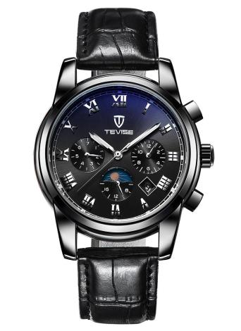 TEVISE Moda de lujo de la luna de la fase de agua a prueba de hombres automático Reloj mecánico de acero inoxidable Hombre Reloj de pulsera de automóviles de esqueleto reloj automático + caja