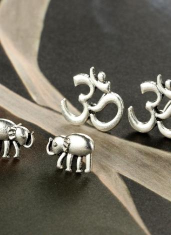 Moda Retro Coração Elefante Square Wings Moon Cow Flower 5 pares de Ear Studs Women Jewelry
