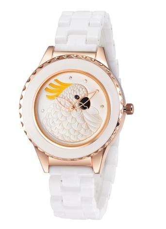 Relógio de quartzo ASJ de forma original fresco Marca da mulher Feminino cerâmica banda liga relógio de pulso com padrão animal