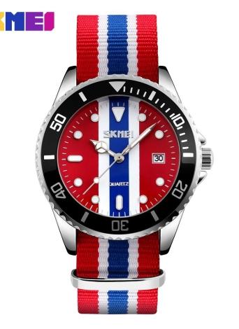 SKMEI Marca Moda Inglaterra Estilo Nylon Men Correia & Women Casual amante Relógio de pulso de quartzo impermeável relógios Vestido relógio calendário da Feminio Masculino Relógio