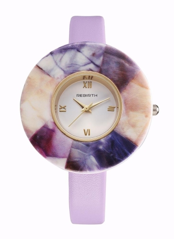 REBIRTH Brand Fashion PU Leather Quartz Marble Case Relógios Femininos
