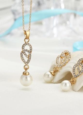 Conjunto de joyería de moda perla incrustado colgante de diamantes collar pendientes para mujer decoración
