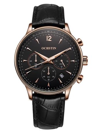 88d884beb166 OCHSTIN Nueva marca de lujo del cuero genuino de los hombres de negocios de  reloj de