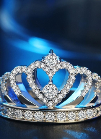 Couronne Inlay Diamant Bague Argent Mode Cristal Anneaux Bijoux pour Fête Accessoires De Mariage de Femmes et Filles