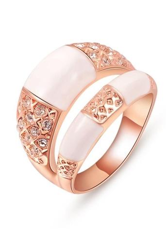 Roxi Moda de Nova fileiras duplas Design Ouro chapeado Mulheres anel de zircão jóias para acoplamento do casamento
