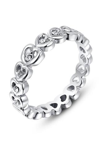 Roxi Mode Zircon strass Coeur plaqué or Bijoux en cristal Ring Conçu pour les femmes Engagement Cadeau