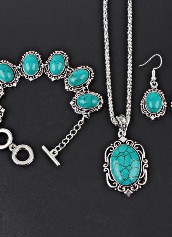 Hollow Sliver Green Rimous Oval Turquesa collar pendientes collar pulsera conjunto de joyas