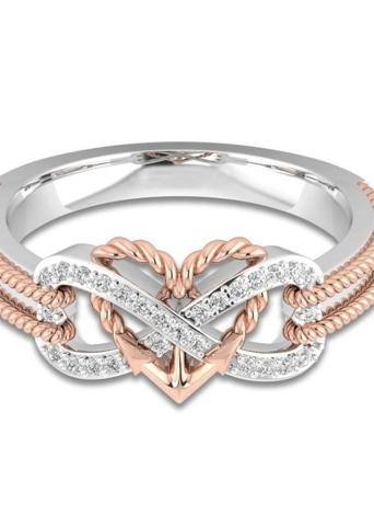 87ceeb033128 Forma de corazón de amor Diamante Anillo de moda dorado Anillos de cristal  Joyas para fiesta