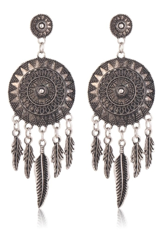 Moda Retro Ethnic Jewelry Feather Tassel Round Flower Drop Earrings para Mulheres