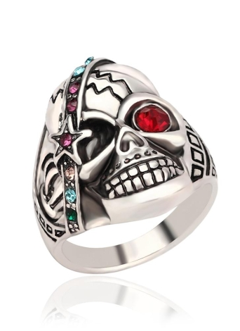 Personalidade Retro Skull com Red Zircon Eye Embedded Crystal Ring