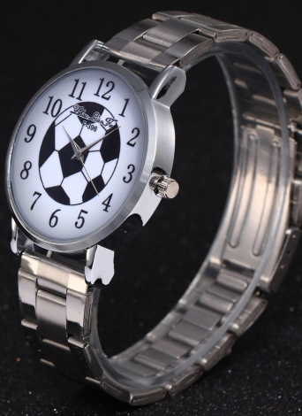 Fashion Trendy Quartz Watch Football Pattern Number Scale Women Stainless Steel Silver Strap