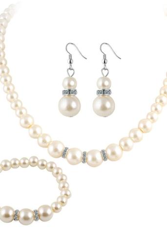 3 piezas de moda Elegante Euramerican Pearl Crystal Jewelry Set