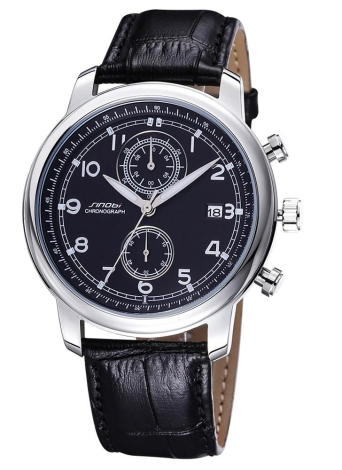SINOBI стильный высокое качество PU кожаный ремешок унисекс часы Модные кварцевые наручные часы с календарем