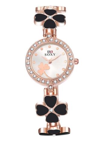 Casual cuarzo Pulsera electrónica muñeca reloj oro rosa de aleación de Zinc SOXY mujeres con cuatro negro hojas Lucky Clover pedrería pantalla Digital analógica