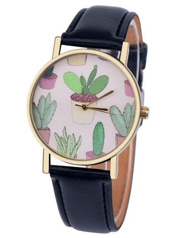 OKTIME Fashion Leather Band Mini Cactus Pattern Quartz Vogue Women Watch