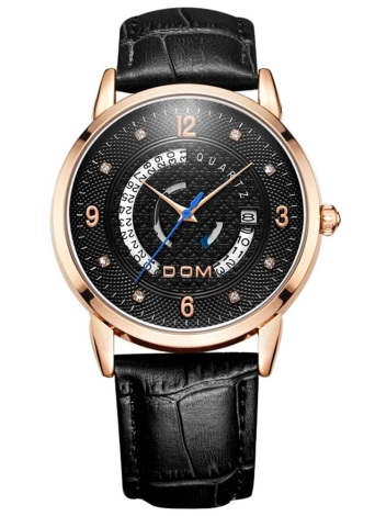 DOM Brand Luxury Diamond couro genuíno homens relógios