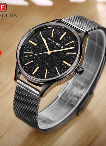 Mini Focus Luxury Quartz Women Mesh Stainless Steel Watch