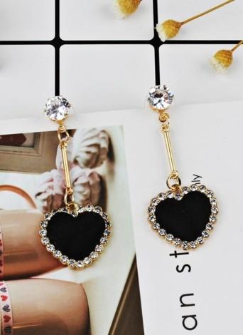 Moda retro terciopelo cuadros amor corazón diamante colgante largo pendientes adorno ornamento del oído