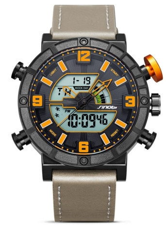 SINOBI deporte reloj de cuarzo 3ATM resistente a los hombres hombres relojes retroiluminación Relojes de pulsera hombre cronógrafo