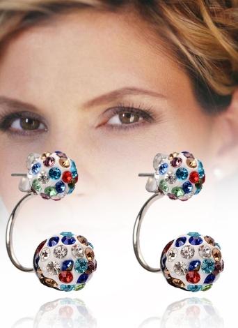 Boucles d'oreilles en cristal de cristal de boule d'oreille de boule de mode avec les doubles boucles d'oreille de boules pour des femmes et des filles