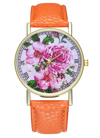 Pink Flower Vintage Floral Leather Watch para mujeres reloj de hombre Ideas de regalo de boda de cumpleaños T06