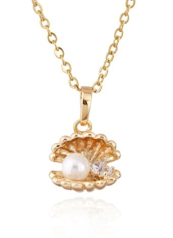 Oro mujer de la muchacha de la manera plateó Zircon del Rhinestone de Shell colgante collar de la clavícula joyería de la cadena para el regalo de boda del partido