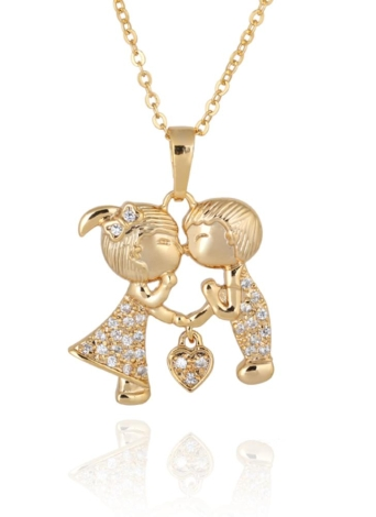 Zircon Rhinestone Crystal Heart Couple Lovers Pendant Necklace