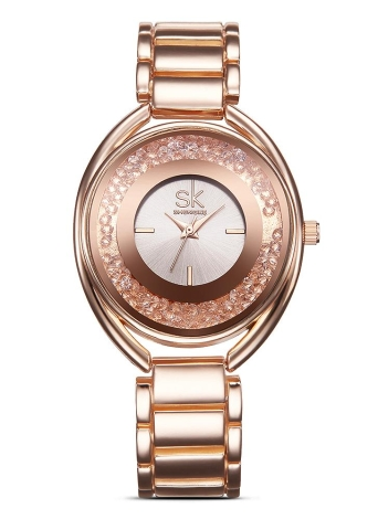SK Brand Luxury Rose Gold Steel Diamond Quartz Analog Women Relógios