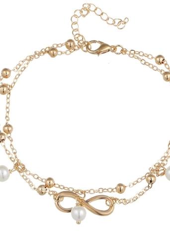 Bracelete de corrente de pérolas simulada elegante feito à mão elegante em toda a moda