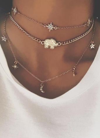 Multi-camada Colar Lua Estrela Elefante Pingente Colar Clavícula Cadeia Mulheres Jóias