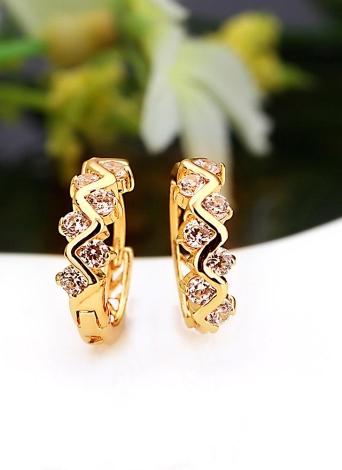 Plaqué or de 18K pour le Zircon cristal clair 1paire vague creuse Hoop boucles d'oreilles bijoux cadeaux pour femmes Lady