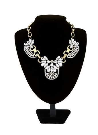 Trendy Petal Rhinestone Bib Choker Flower Drop Collar Necklace