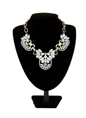 Moda moda Vintage Retro cristal claro Cluster burbuja collar pétalo Rhinestone babero gargantilla flor Collar gota colgante accesorio de la joyería
