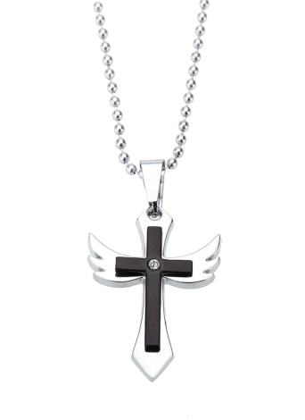 Moda personalizada Cruz Angel ala colgante collar cadena hombre Punk Retro Vintage Womem joyas accesorio