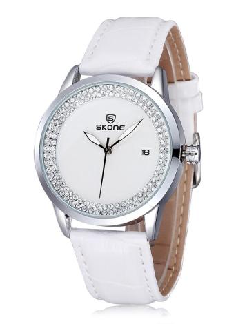 Correa SKONE de 2016 la marca de moda del cuarzo del diamante de lujo del Rhinestone reloj de las mujeres de cuero de PU resistente al agua Reloj de vestir de señora con el calendario